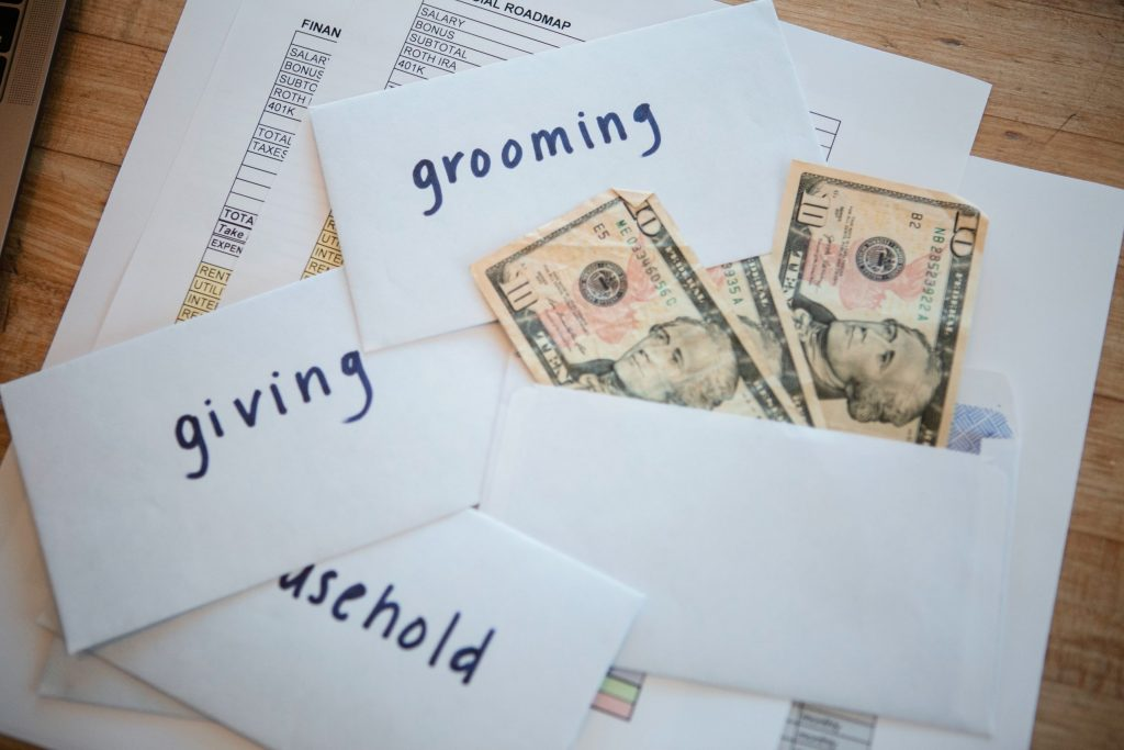 envelopes and dollar bills